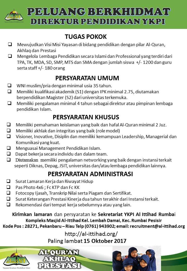 Peluang berkhidmat di YKPI Al-Itiihad