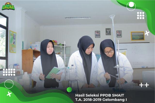 Hasil Seleksi PPDB SMAIT TA. 2018/2019 Gelombang I
