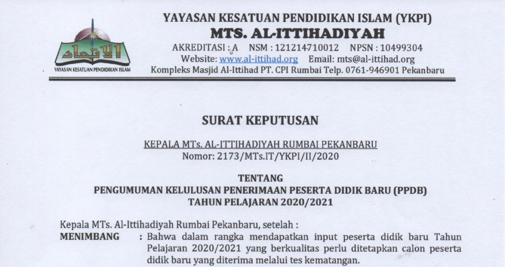 Pengumuman Kelulusan PPDB MTs Al-Ittihadiyah TA.2020/2021