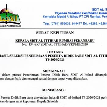 Pengumuman Hasil Seleksi PPDB SDIT Al-Ittihad TP.2020/2021