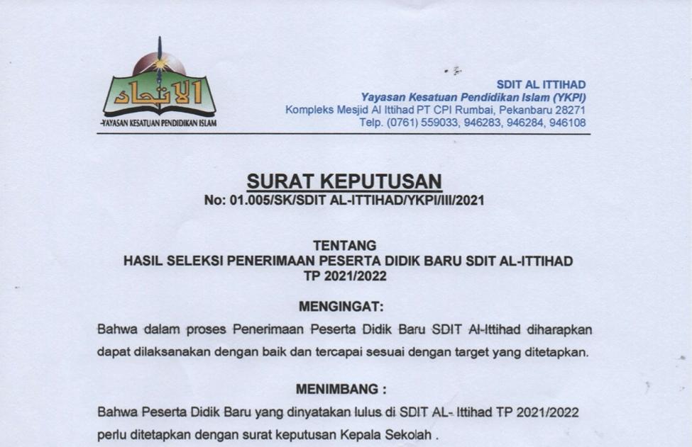 Pengumuman Kelulusan PPDB SDIT Al-Ittihad TA.2021/2022